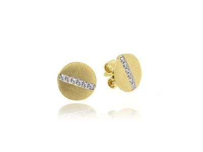 Cropped product listing brushed yellow gold studs