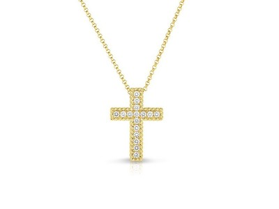 Cropped product listing princess diamond cross necklace