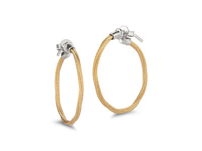Cropped product listing cable hoop earrings