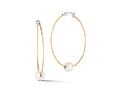 Cropped product listing pearl cable hoop earrings