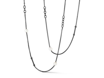 Cropped product listing long pearl station necklace