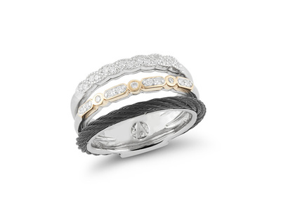 Cropped product listing stacked cable diamonds ring