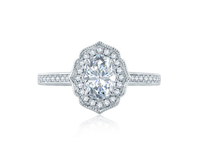 Cropped product listing floral inspired halo oval engagement ring