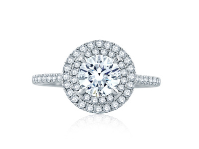 Cropped product listing round double halo engagement ring