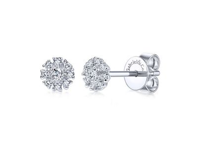 Cropped product listing floral round diamond stud earrings