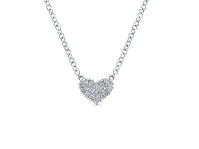 Cropped product listing diamond pave heart necklace