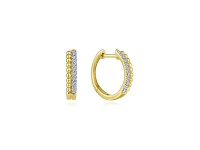 Cropped product listing beaded pave huggie earrings