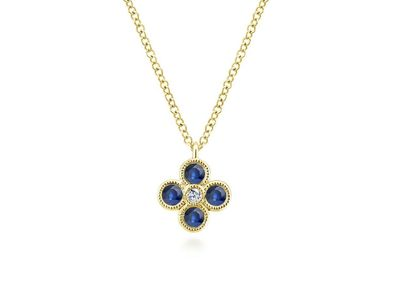 Cropped product listing diamond sapphire necklace