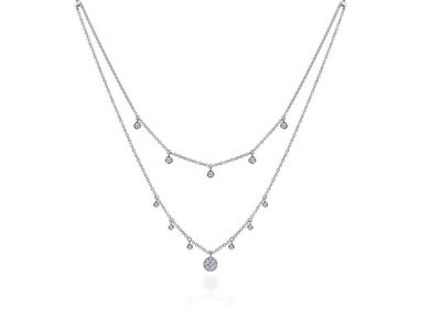 Cropped product listing layered diamond necklace