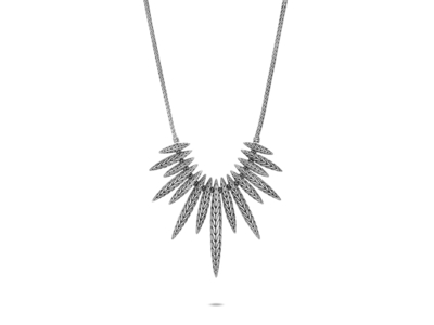 Cropped product listing classic chain spear bib necklace
