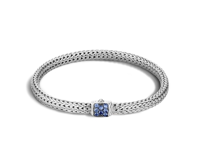 Cropped product listing classic chain bracelet with blue sapphires