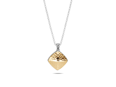 Cropped product listing classic chain hammered sugarloaf pendant necklace
