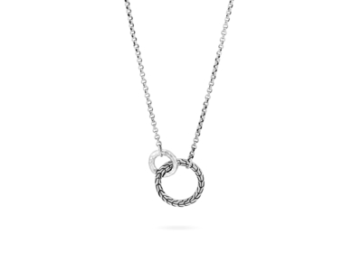 Cropped product listing classic chain hammered interlinking necklace