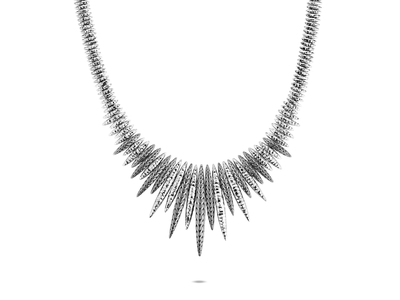 Cropped product listing classic chain spear hammered bib necklace