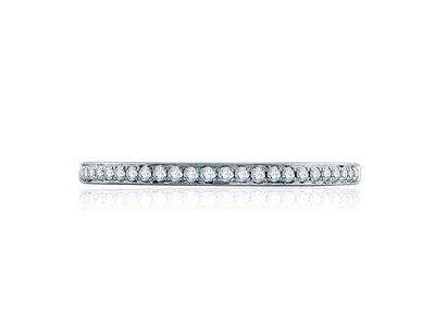 Cropped product listing delicate diamond half circle wedding band