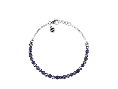 Cropped product listing classic chain bead bracelet with lapis lazuli
