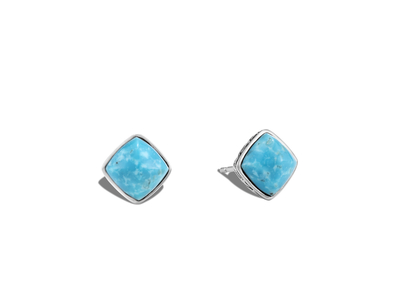 Cropped product listing classic chain sugarloaf stud earring with turquoise