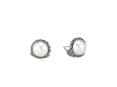 Cropped product listing classic chain stud earring with mabe freshwater pearl