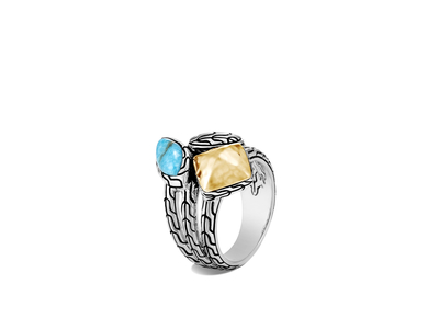 Cropped product listing classic chain hammered ring with turquoise
