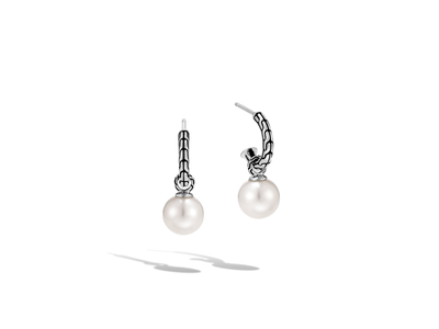 Cropped product listing classic chain drop earring with freshwater pearl