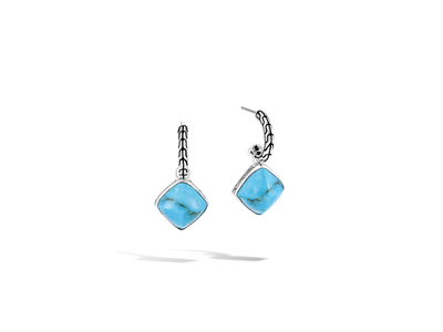 Cropped product listing classic chain sugarloaf drop earring with turquoise