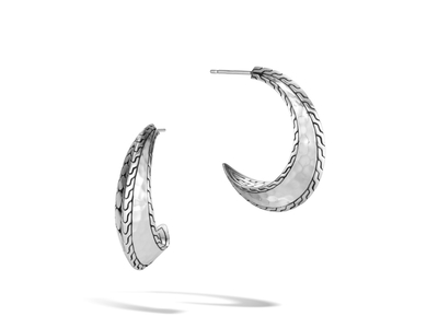 Cropped product listing dot hammered hoop earring