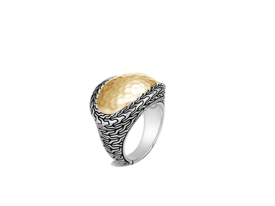 Cropped product listing classic chain hammered ring