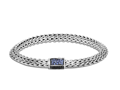 Cropped product listing tiga chain bracelet with blue black sapphire spinel