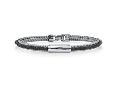 Cropped product listing men s cable leather bracelet