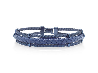 Cropped product listing men s blue cable leather bracelet