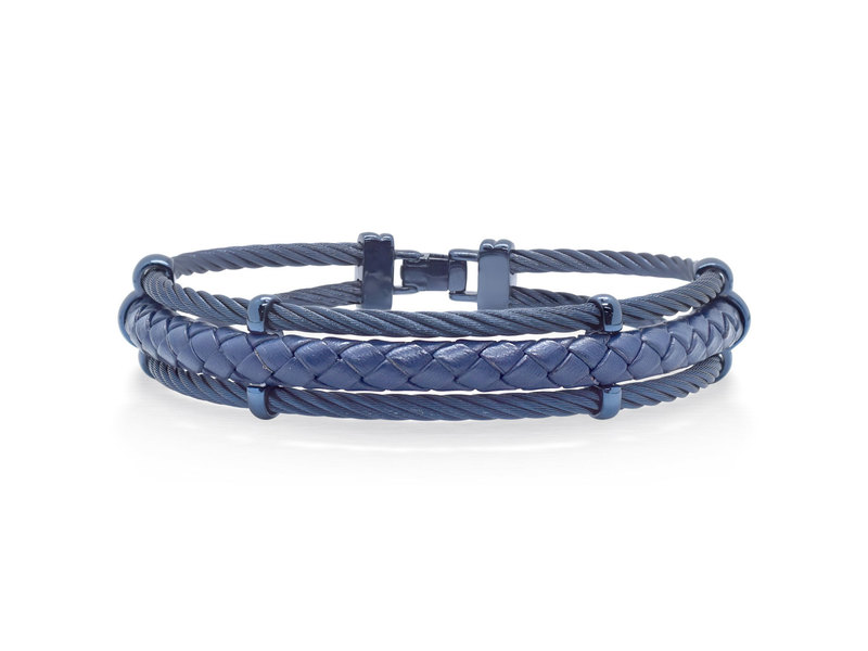 Cropped product page men s blue cable leather bracelet