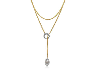 Cropped product listing lariat necklace with south sea pearl