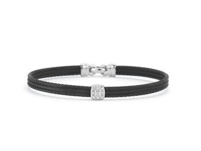 Cropped product listing black cable diamond station bracelet