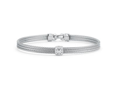Cropped product listing grey cable diamond station bracelet