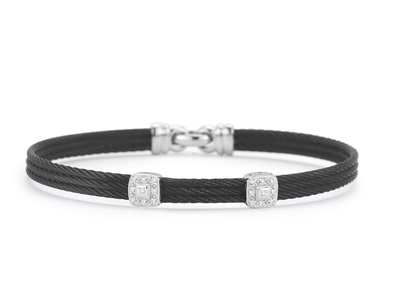 Cropped product listing black cable double station bracelet