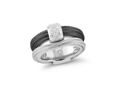 Cropped product listing black grey cable simple stack ring