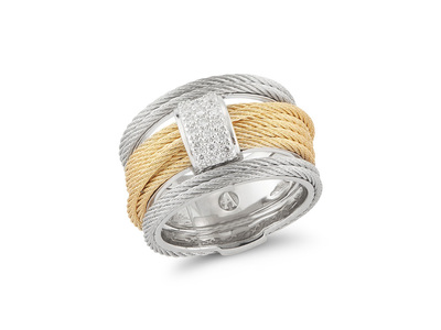 Cropped product listing yellow grey cable simple stack ring