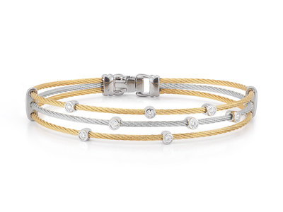Cropped product listing yellow grey cable triple strand bracelet