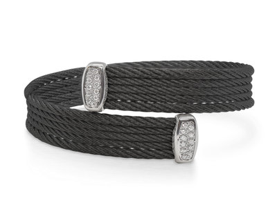 Cropped product listing black cable bypass bracelet with diamonds