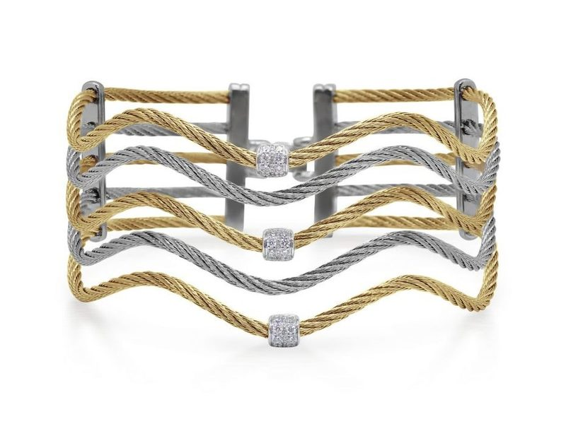 Cropped product page yellow grey cable wave bracelet