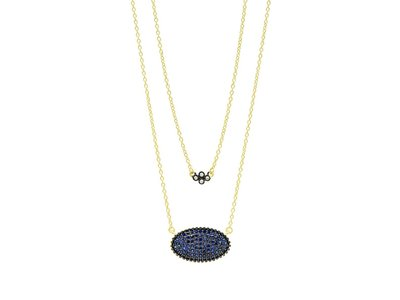 Cropped product listing midnight oval pave double pendant necklace