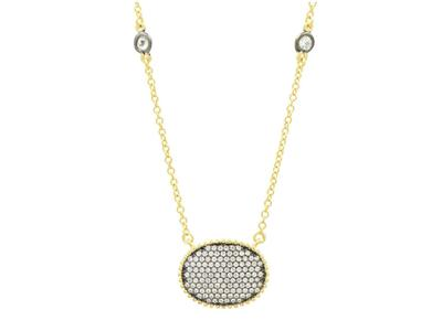 Cropped product listing pave oval disc pendant