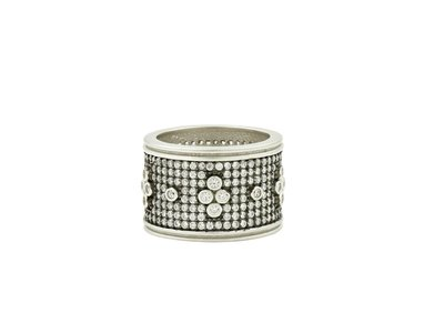 Cropped product listing pave clover wide band ring