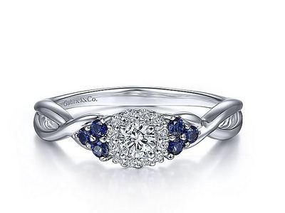 Cropped product listing halo sapphire engagement ring