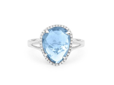 Cropped product listing blue topaz diamond ring