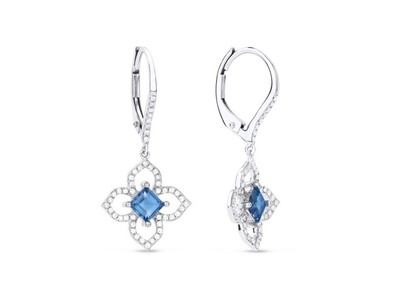 Cropped product listing swiss blue topaz flower drop earrings