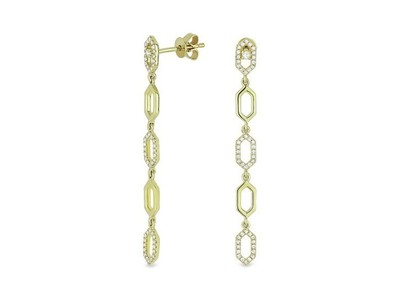Cropped product listing dangle chain earrings with diamonds