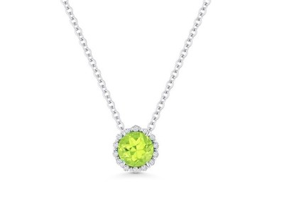 Cropped product listing peridot diamond necklace