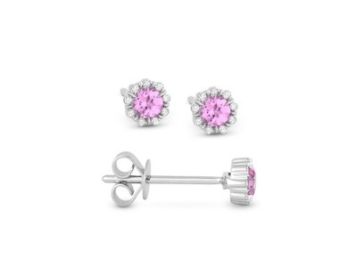 Cropped product listing pink sapphire diamond stud earrings