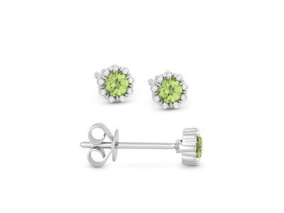 Cropped product listing peridot diamond stud earrings